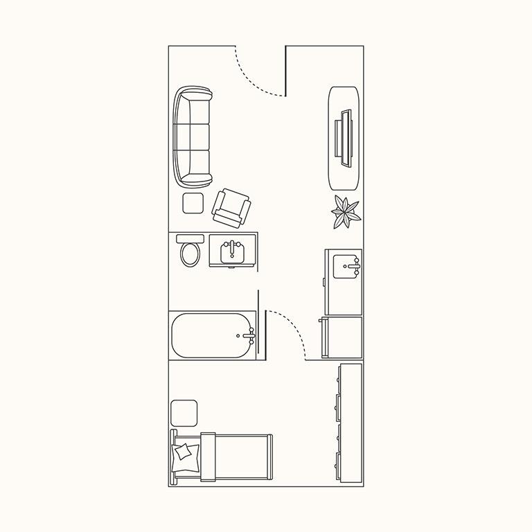 Floorplan B: 1 Bedroom