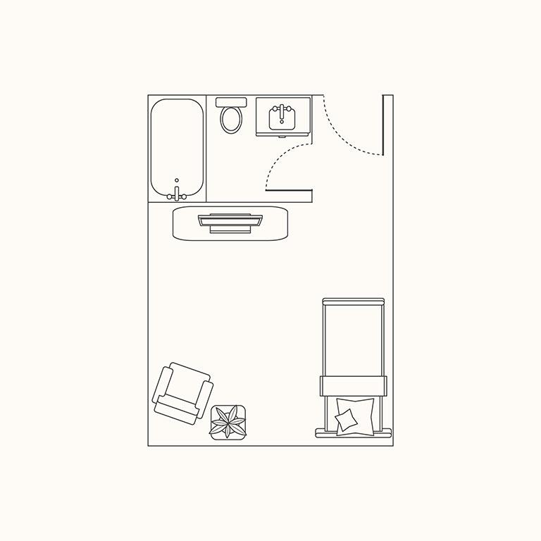 Floorplan D: Medium Studio